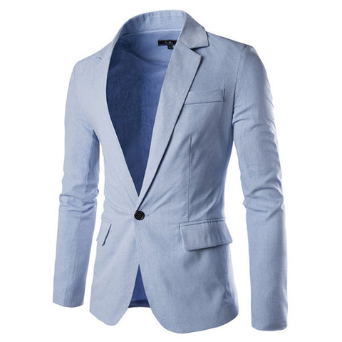 Spring Casual Business Slim One Button Single Breasted Blazers Suits for Men