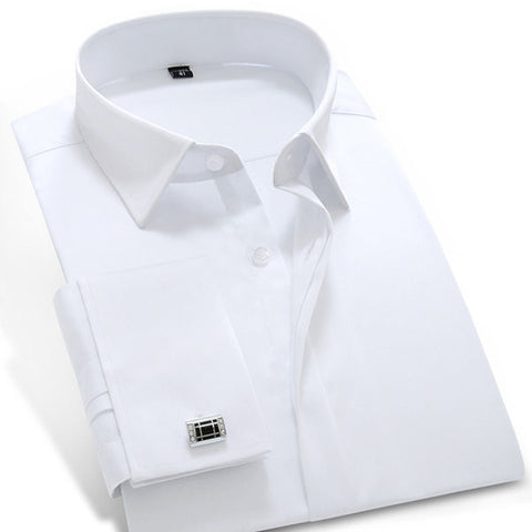 Plus Size Long Sleeve Cotton Solid Color Soft Breathable Dress Shirts for Men