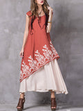 Gracila Vintage Embroidery Sleeveless O Neck Women Dresses