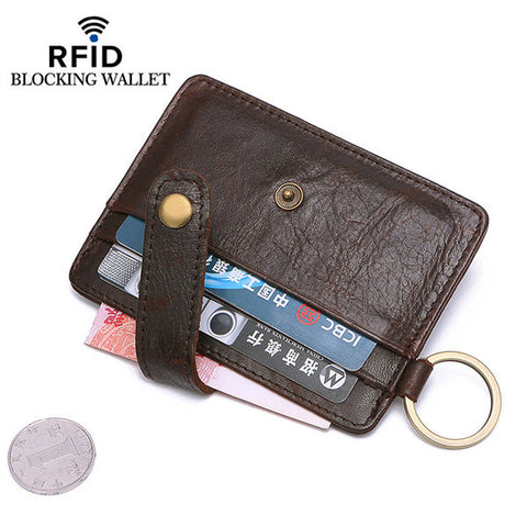 RFID Antimagnetic 4 Card Slots Card Holder Genuine Leather Wallet Coin Bag For Men