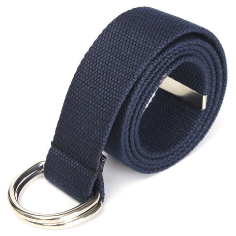 Unisex Adjustable Fabric Webbing Waist Casual D Ring Canvas Belt