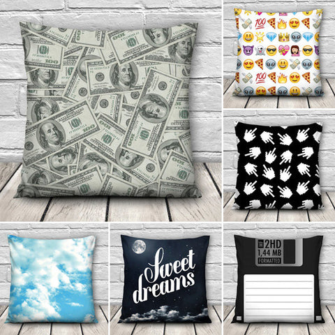 Funny 3D Dollars Emoji Books Throw Pillow Case Home Sofa Office Car Cushion Cover Gift