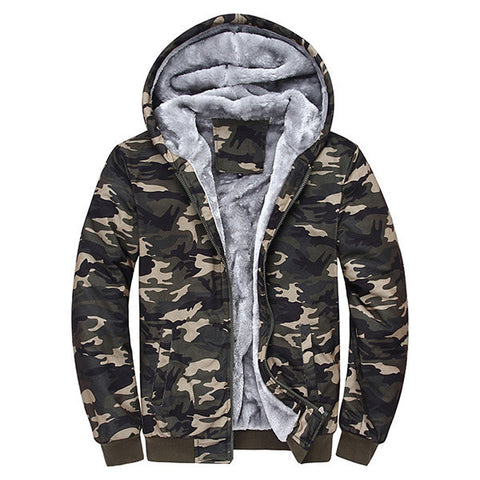 Mens Winter Thick Warm Extra Fleece Lined Army Green Camo Hoodies Casual Zipper Tops Sweatshirt