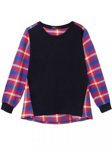Women Plaid Patchwork Long Sleeve Shirt Loose Cotton Blouse