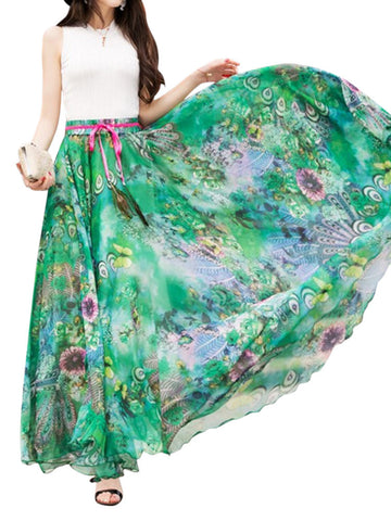 Bohemian Print Ankle Length Pleated Women Chiffon Skirts