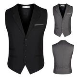 Plus Size Formal Fashion Business Suit Collar Vest Slim Fit Pure Color Waistcoats for Men