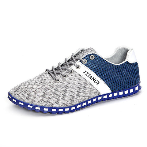 Men Mesh Fabric Splicing Breathable Lace Up Casual Sport Shoes