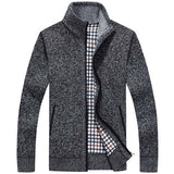 Casual Extra Fleece Thick Sweater Knitting Solid Color Coat For Men
