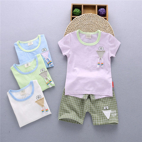 2PCS Kids Patchwork Cute Cotton Suits