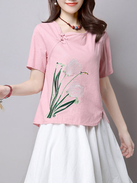 Women Embroidered Short Sleeve Summer Vintage T-shirts