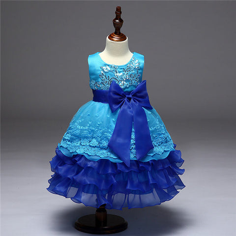 Kids Girl Pleated Sequins Bowknot Yarn Bubble Princess Dress