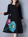 Loose Lotus Flower Printed Long Sleeve O Neck Dresses For Women