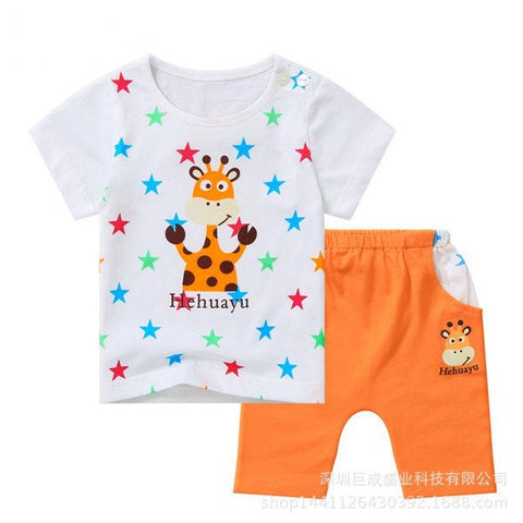 Boys Summer Printed Cute Cotton Suits