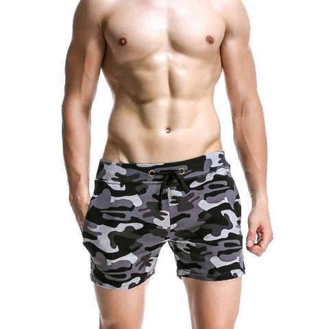 Mens Camo Home Shorts Breathable Elastic Waist Drawstring Casual Sports Shorts