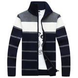 Casual Stripe Embroidery Knitted Sweater Stand Collar Long Sleeve Coats For Men