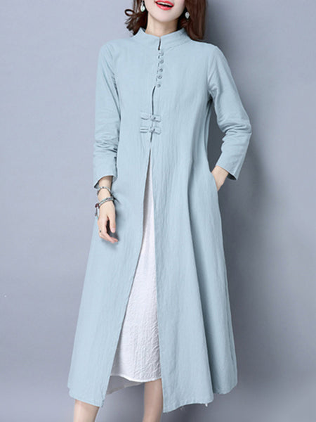 Folk Frog Color Patchwork Long Sleeve Dresses For Women