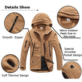Men Tactical Military Multi-Pockets Fleece Hooded Outdoor Jacket for Winter