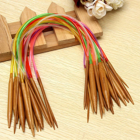 18 Sizes 40cm Carbonized Bamboo Colorful Circular Knitting Needles Hat Sweater Scarf Crochet Hooks