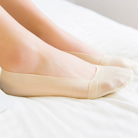 Women Invisible Antiskid Ice Silk Boat Socks Shallow Liner No Show Peep Low Cut Hosiery