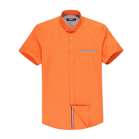 QIPAI Casual Business Short Sleeves Striped Solid Color Orange Dress Shirts for Men