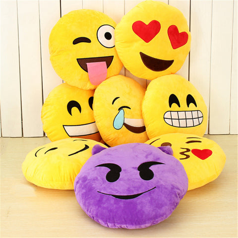 Emoji Smiley Emoticon Yellow Round Plush Pillow Soft Doll Toy