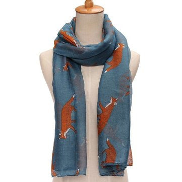 Women Fox Print Soft Scarf Animal Fashion Large Long Shawl