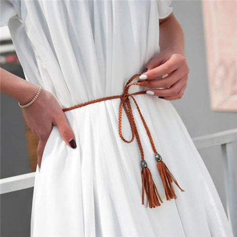 Women Waist Chain Belt Braided Tassels Thin Wild Bow Rope Knotted Decorative Waistband