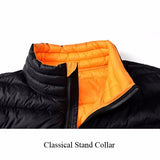 NIAN JEEP Winter Thicken Warm Stand Collar Solid Color Jacket for Men