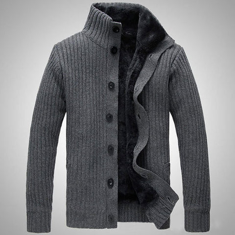 Mens Winter Casual Extra Fleece Thick Sweater Solid Color Cardigan