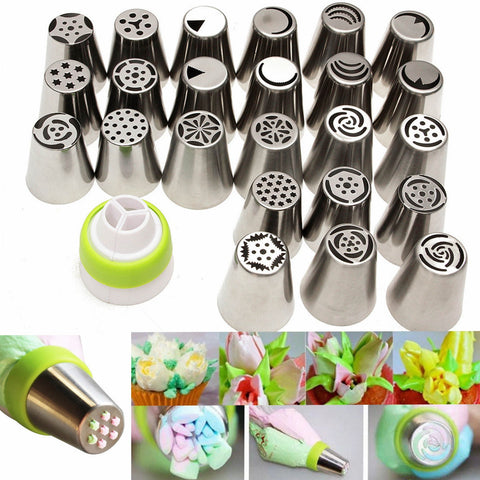 24Pcs Flower DIY Icing Piping Nozzles Tips Pastry Cake Baking Sugarcraft Tool