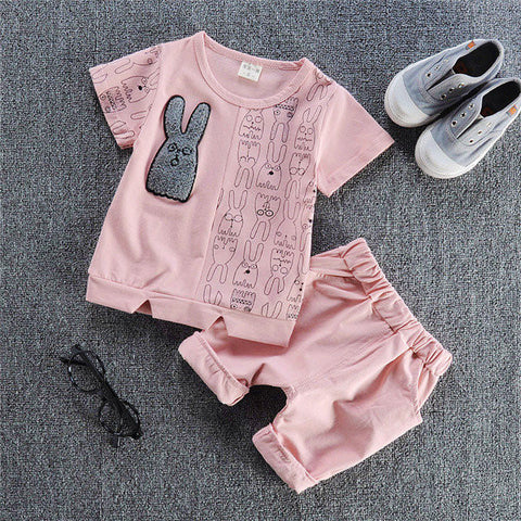 2PCS Boys Rabbit Patchwork Casual Tracksuits
