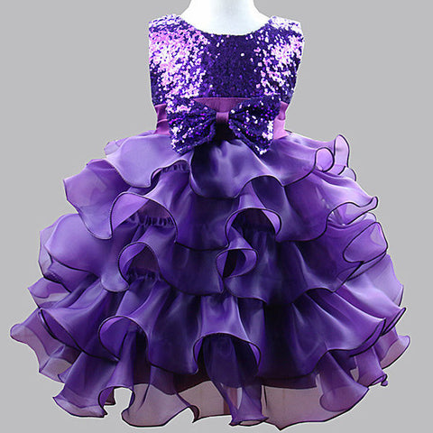 Pleated Sequins Patchwork Sleeveless O-neck Princess Dress For Kids Girl