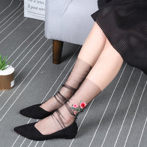 Women Girl Rose Flower Embroidery High Push Socks Summer Glass Mesh Harajuku Style Sock