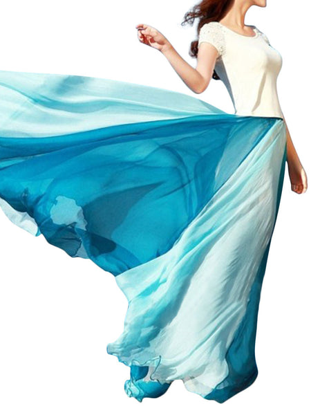 Women Chiffon Mix Color Pleated Elastic Waist Maxi Skirt