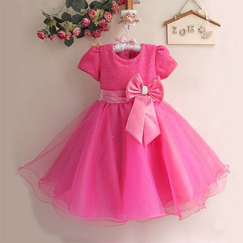 Bowknot Patchwork Short Sleeve O-neck Princess Dress For Kids Girl