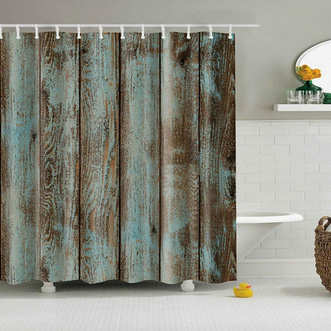 Waterproof Bathroom Decor Shabby Green Wood Shower Curtain with 12 Hooks