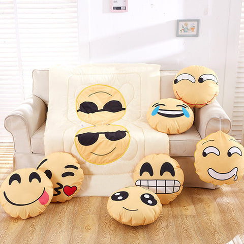 Creative Kawaii Emoji Decorative Bedding Pillow Blanket Travel Office Rest Use Blanket Supplies