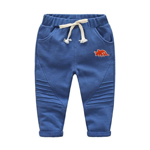 Boys Embroidery Stripes Drawstring Cute Pants