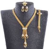 Gold Plated Collar Necklace Earrings Bracelet Ring Set