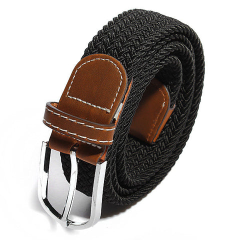 Men Women Stretch Braided Elastic Woven Leather Buckle Belt