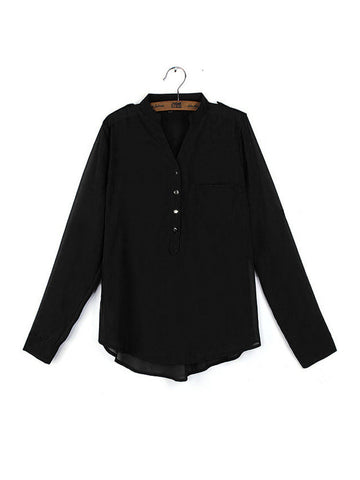 Women's Elegant Chiffon V-Neck Long Sleeve Solid Color Loose Blouse