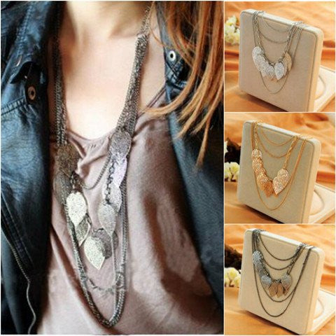 Temperament Bohemia Leaves Multilayer Necklace