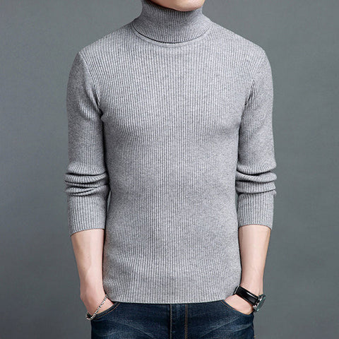 Mens Winter Knitting Sweater Woolen Blend Thick Warm High Collar Long Sleeve Tops