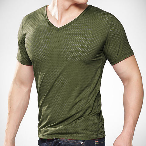Mens Summer Ice Silk V-neck Short Sleeve Fitness Sports T-shirts Breathable Mesh Slim Fit Tops
