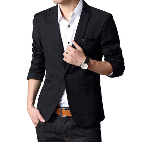 Spring Casual Blazers Slim Fit Black Business Suits for Men