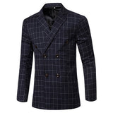 Spring Autumn Fashion Plaids Printing Casual Double Breasted Suits Blazers for Men