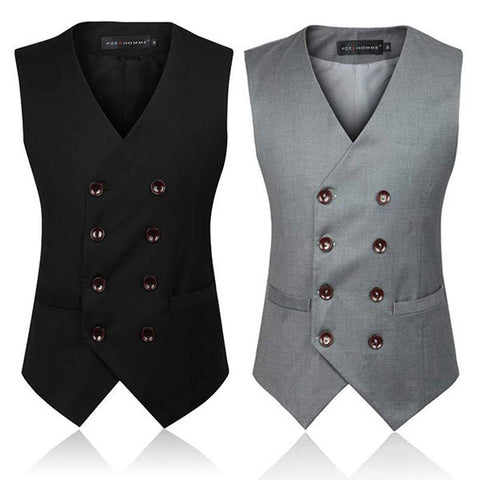 Plus Size Business Formal Double Breasted Suit Vest British Style Waistcoats for Men