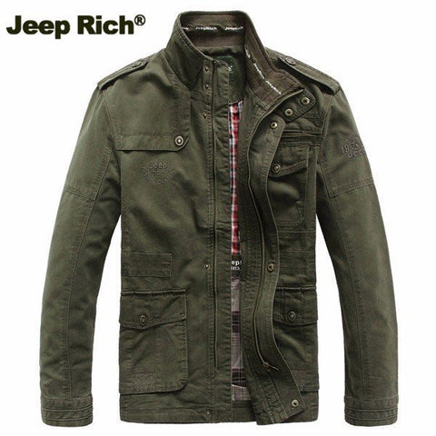 Jeep Rich Plus Size Military Epaulets Outdoor Stand Collar Casual Cotton Jacket for Men
