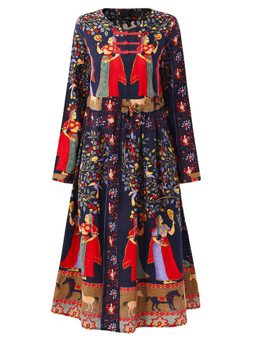 Gracila Loose Print Folk Plate Buckle Long Sleeve Women Dresses