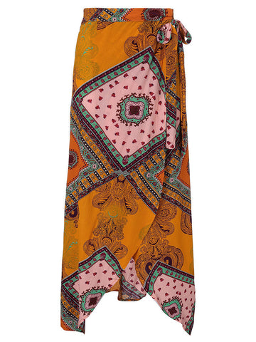Bohemian Printed Side Slit Irregular Women Maxi Skirt